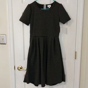 LuLaRoe Amelia dress medium black grey stripe NWT